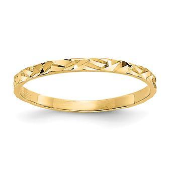 14k Sarı Altın Katı Cilalı Parıltılı Kesim Zig zag Tasarım Bandı erkek veya kız ring - 0,4 Gram
