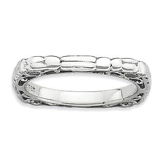 2.25mm 925 Sterling Silver Patterned Stackable Expressions Polished Rhodium plate Square Ring Jewelry Gifts for Women -
