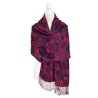 Eternal Collection Jacquard Red And Deep Blue Circles Patterned Soft Viscose Wrap