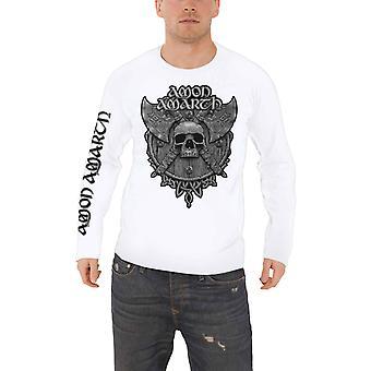 Amon Amarth camiseta cinza crânio banda logo novo oficial Mens manga comprida