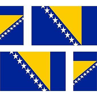 4 X Naklejka Naklejka Naklejka Samochód Motocykl Valise Pc Przenośna flaga bośniacka