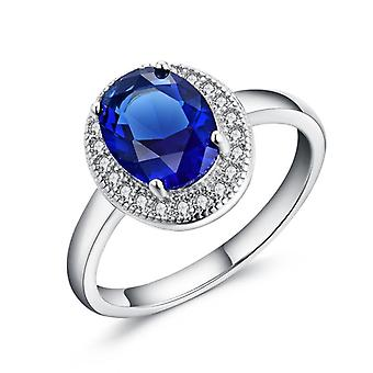 Sreema London 925 Sterling Silver Classic Blue Halo Engagement Ring