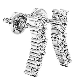 Dazzlingrock Collection 0.50 Carat (ctw) 14K Round White Diamond Ladies Curved Bar Ear Climber Earrings 1/2 CT, White Gold