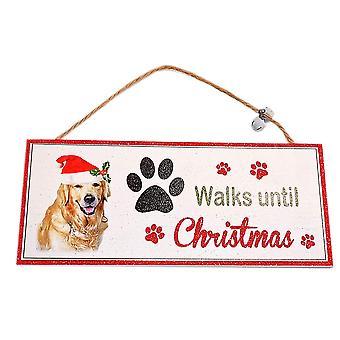 Santa Paws Oblong Plaque Dog - Walks until Christmas