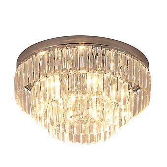 HOMCOM Round Crystal Ceiling Lamp 7 Lights Chandelier Mounted Fixture For Living Room Dining Room Hallway Modern