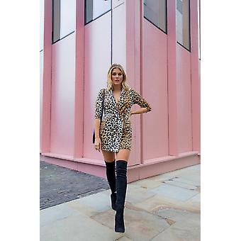 Little Mistress x Ashley James Leopard-Print Double-Breasted Tuxedo Dress