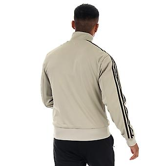 Mens Y-3 Three Stripe Lux Track Jacket In Stone- Zip Fastening- Ribbed Cuffs And