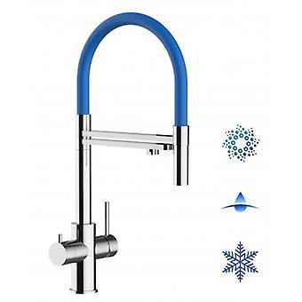 5-weg Inox filter tap blauwe uitloop en 2 jets spray, ideaal voor sprankelende, platte en gekoelde water systemen-gepolijst-436