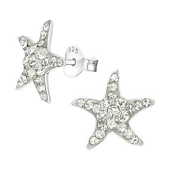 Starfish - 925 Sterling Silver Crystal Ear Studs - W21837X