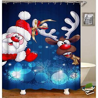 Reindeer And Santa Cartoon Shower Curtain