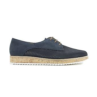 Paul Green 1069-01 Navy Nubuck Leather Womens Lace Up Shoes