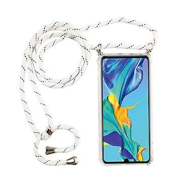 Telefoon keten voor Huawei P30 Pro-smartphone ketting geval met lint-snoer met geval te hangen in wit