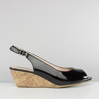 Comfort Plus Alaska Ladies Patent Sling Back Wedge Sandals Black