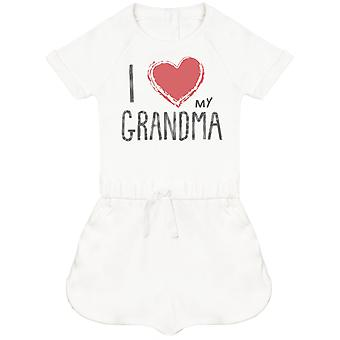 I Love My Grandma Red Heart Baby Playsuit