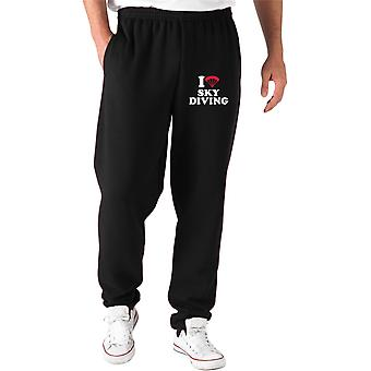 Pantaloni tuta nero dec0164 i love heart skydiving
