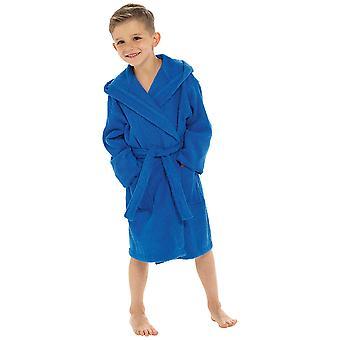 Boys Hooded Sport Design Soft 100% Cotton Dressing Gown Nightwear Bathrobe
