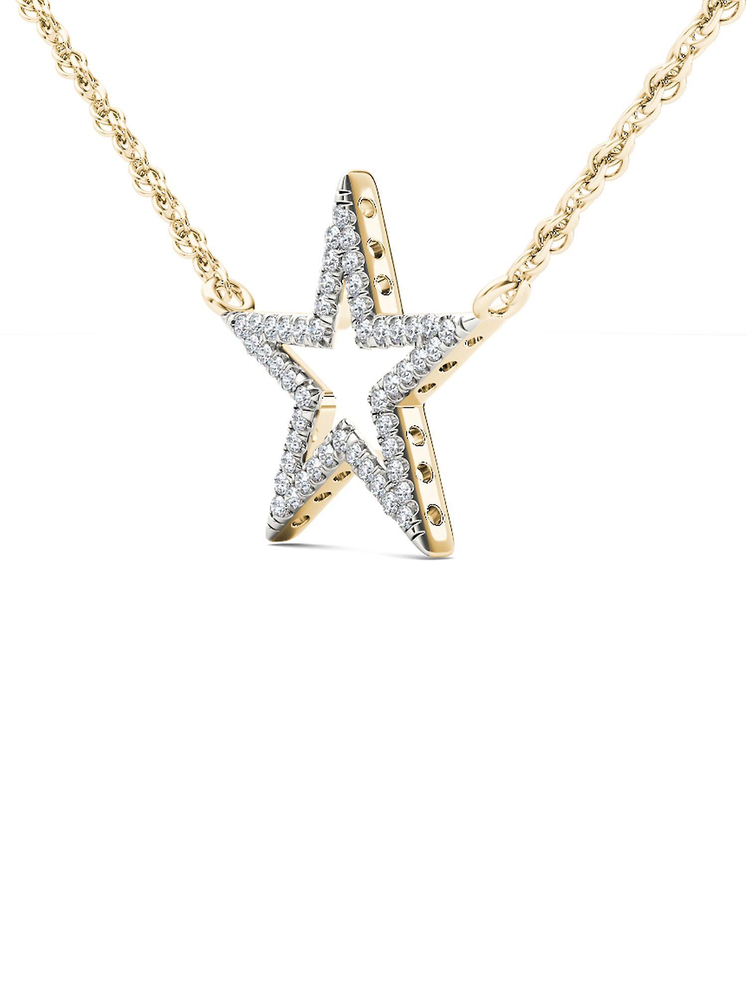 Super Specials Fantastisk pris Igi zertifiziert 10 k Gelbgold 0,12 ct natürlichen Diamant Stern Anhänger Halskette  zIeMt
