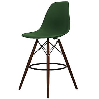 Charles Eames Style Emerald Green Plastic Bar Stool - Jambes de noyer