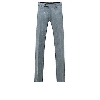 Dobell Mens Light Blue Tweed Trousers Regular Fit Herringbone Detail