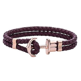 Paul Hewitt PH-PH-L-R-DM Bracelet - Ip Steel Anchor Rose PHREP Purple Leather