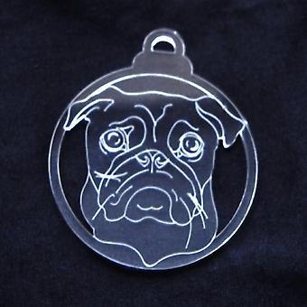 Hund Briks klar akryl jule dekorationer 6pk - Pug ansigt