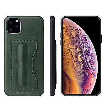 Til iPhone 11 Pro Max Sag Grøn Luksus Læder Back Beskyttende Cover, Støttefod