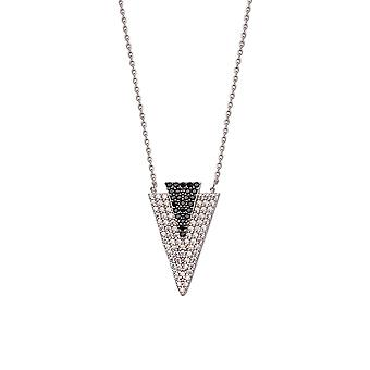 925 Sterling Silber Rhodium vergoldet CZ Zirkonia simuliert Diamant Doppel Dreieck Halskette 18 Zoll Schmuck Geschenke fo