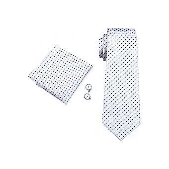 JSS Mens White & Black Check 100% Silk Pocket Square, Cufflink And Tie Se