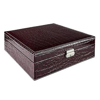 Jewellery box, Crocodile pattern - Dark red