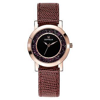 ORPHELIA naisten analoginen kello ruskea nahka OR11703