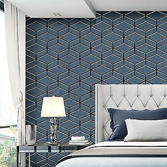Luciano Geo Texture Wallpaper Navy Belgravia 3852