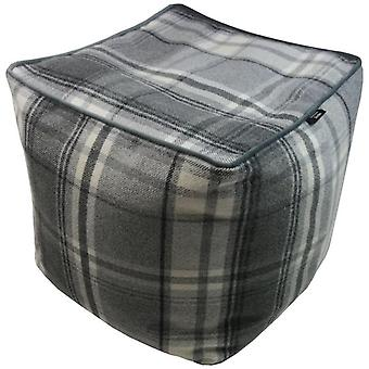 Mcalister textiles deluxe tartan charcoal grey ottoman cube