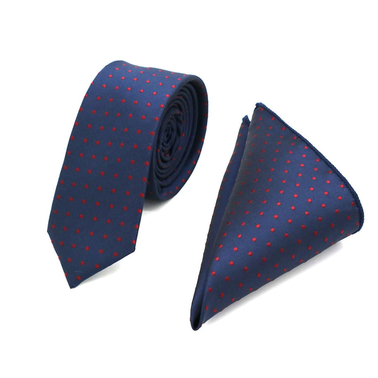 Blue & burgundy polka dot skinny tie & pocket square