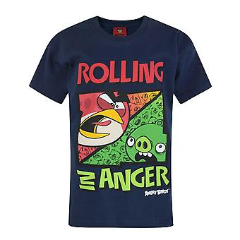 Oficial Angry Birds rodando en Anger Boy's Dark Blue Camiseta