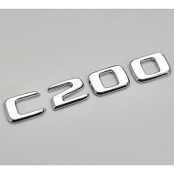 Silver Chrome C200 Flat Mercedes Benz Car Model Rear Boot Number Letter Sticker Decal Badge Emblem For C Class W202 W203 W204 W205 AMG