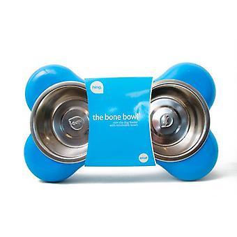 Hing Bone Double Comedero para Perros de Color Azul