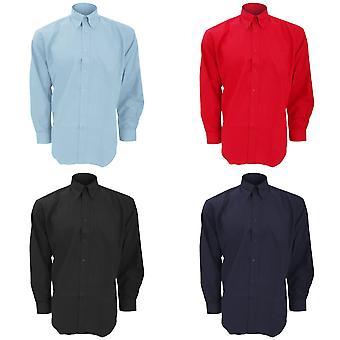 Kustom Kit Mens Workwear Oxford manga longa camisa