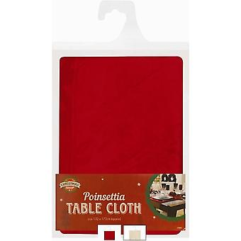 Christmas Table Cloth Poinsettia Design - Red - 132cm x 178cm