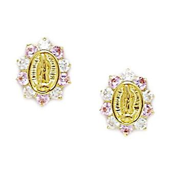 14k Yellow Gold Pink CZ Cubic Zirconia Simulated Diamond Religious Faith Inspiration Jesus Screw back Earrings Measures