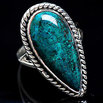 Chrysocolla Ring Size 7.5 (925 Sterling Silver)  - Handmade Boho Vintage Jewelry RING3450