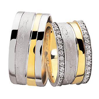 Diamond bicolor wedding rings Ice Brush