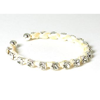 The Olivia Collection Cream Rhinestone and Ribbon Cuff Bangle Bracelet