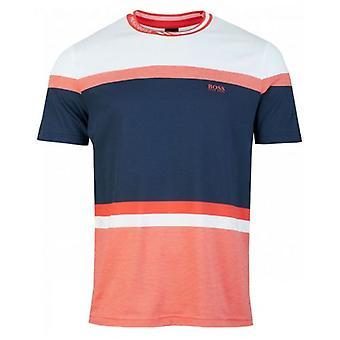 Boss Athleisure Tee 8 Collar Logo Stripe Block T-Shirt