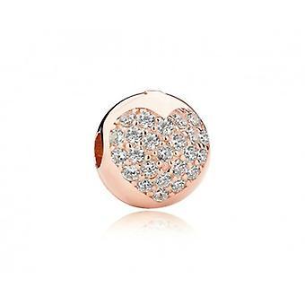 Sterling Silver Clip Rosé Colored Heart - 5556