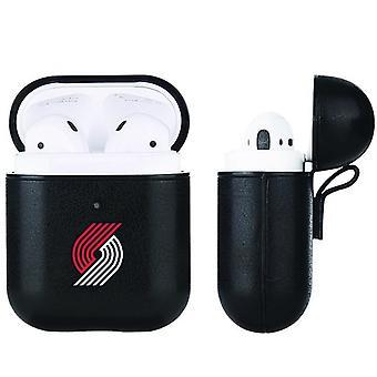Portland Trailblazers NBA Fan Brander Black Leather AirPod Case