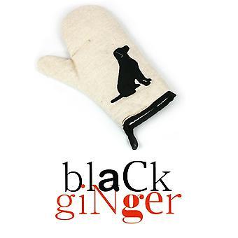 Black GingerCream Canvas Oven Glove with Black Dog Design (153-106)