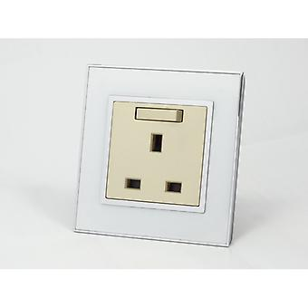 I LumoS AS Luxury White Mirror Glass Single Switched Wall Plug 13A UK Sockets