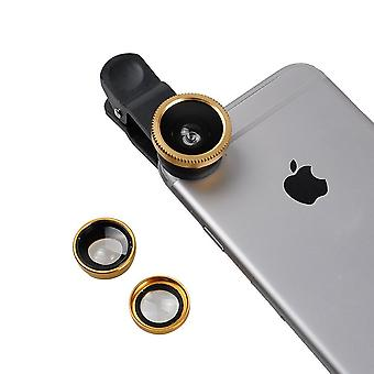 ONX3 Samsung Galaxy J2 DTV SM-J200 (Gold) 3 in 1 Phone Camera Lens Kit Fisheye Lens + Wide Angle Lens + Macro Lens with Universal Clip-on 180 Degree For Both Android and iOS Devices