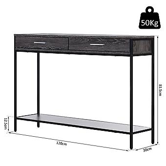 HOMCOM Console Table Worktop Bottom Shelf Home Two Drawer Industrial Minimal Style Grey Wood Tone Effect