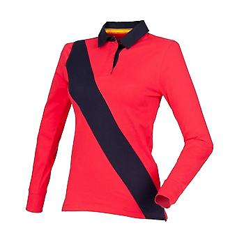 Front Row Womens/Ladies Diagonal Stripe House Rugby Polo Shirt